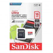 کارت حافظه microSDHC سن دیسک Ultra A1 کلاس 10 استاندارد UHS-I U1 سرعت 98MBps ظرفیت 16 گیگابایت