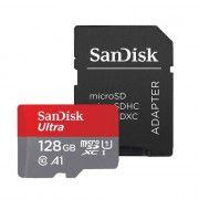 کارت حافظه microSDXC سن دیسک مدل Ultra A1 کلاس 10 استاندارد UHS-I سرعت 100MBps ظرفیت 128 گیگابایت به همراه آداپتور SD