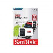 کارت حافظه microSDXC سن دیسک مدل Ultra A1 کلاس10 استاندارد UHS-I U1 سرعت  100MBps 667X ظرفیت 64 گیگابایت همراه با آداپتور SD