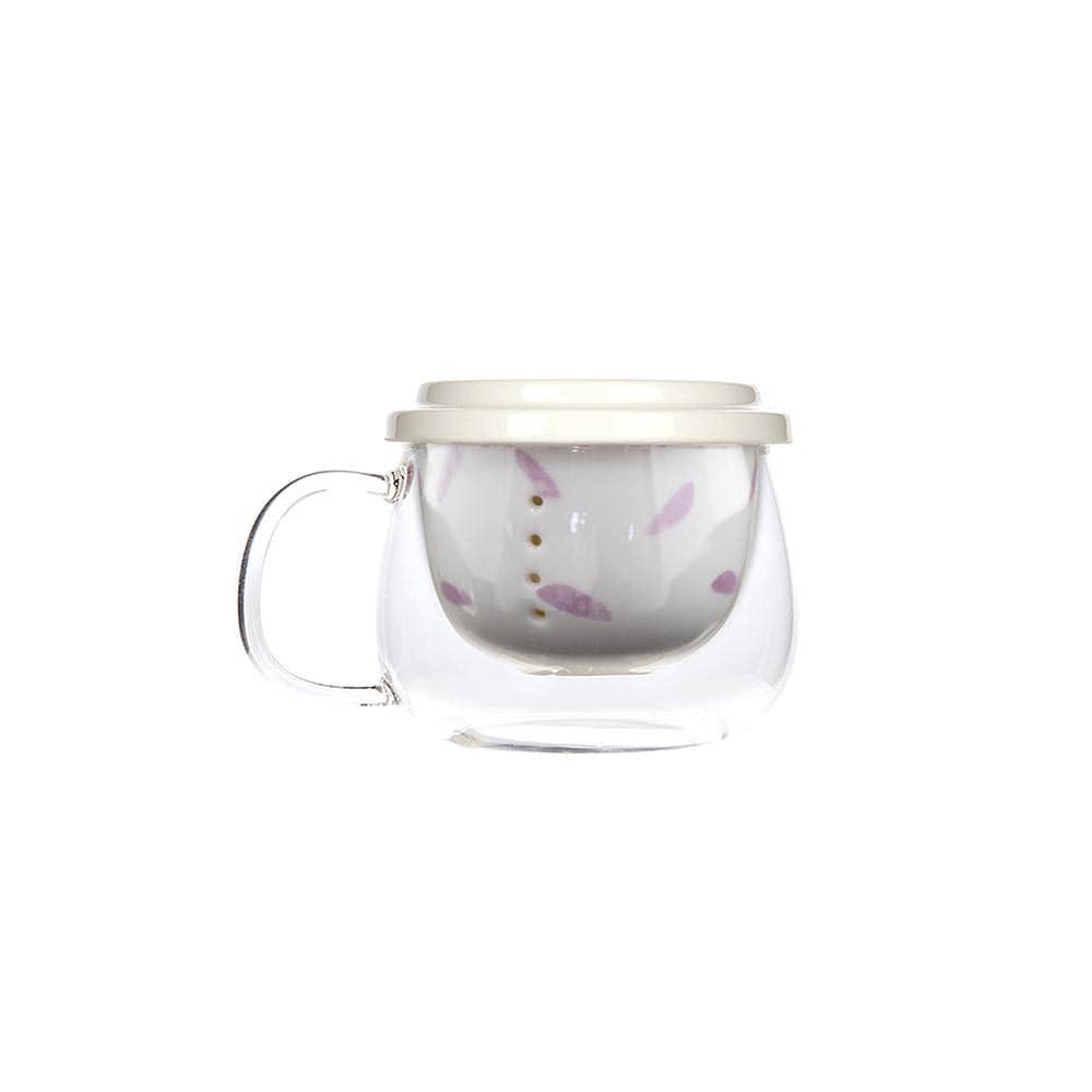 فروش لیوان دمنوش پیرکس تپل طرح گلدار