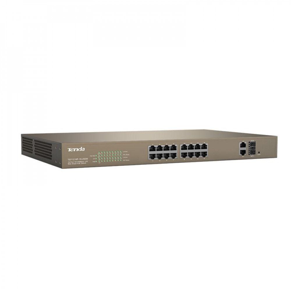 سوییچ شبکه 16 پورت POE تندا مدل TEF1218P-16-250W