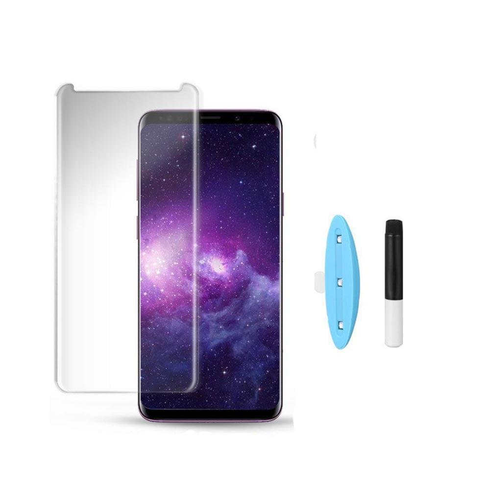 گلس UV تمام صفحه سامسونگ  S9 Plus به همراه لامپ و چسب