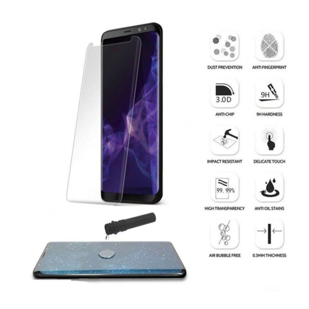 گلس UV تمام صفحه سامسونگ S8 Plus به همراه لامپ و چسب