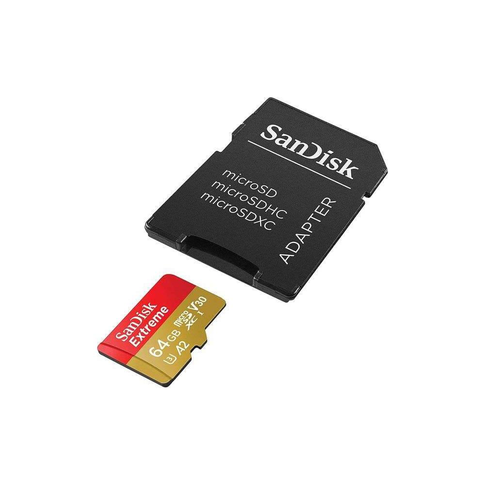 کارت حافظه microSDXC سن دیسک مدل Extreme کلاس A2 استاندارد UHS-I U3 سرعت 160MBps ظرفیت 64 گیگابایت همراه با آداپتور SD